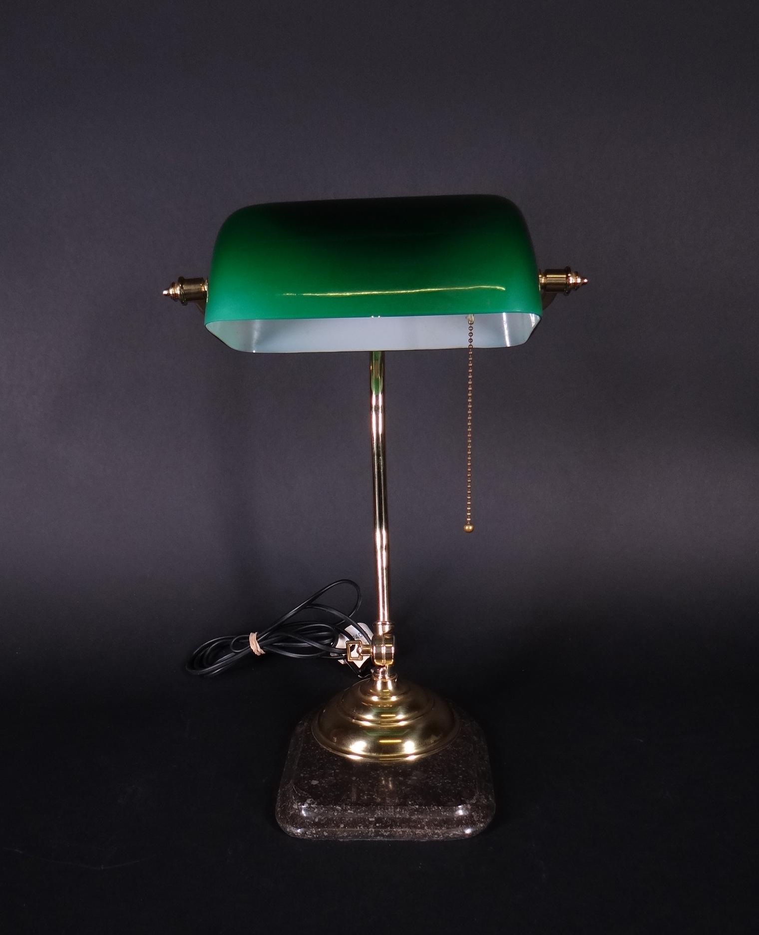 luminaire lampe de bureau m tal dor opaline verte socle marbre h 44cm. Black Bedroom Furniture Sets. Home Design Ideas