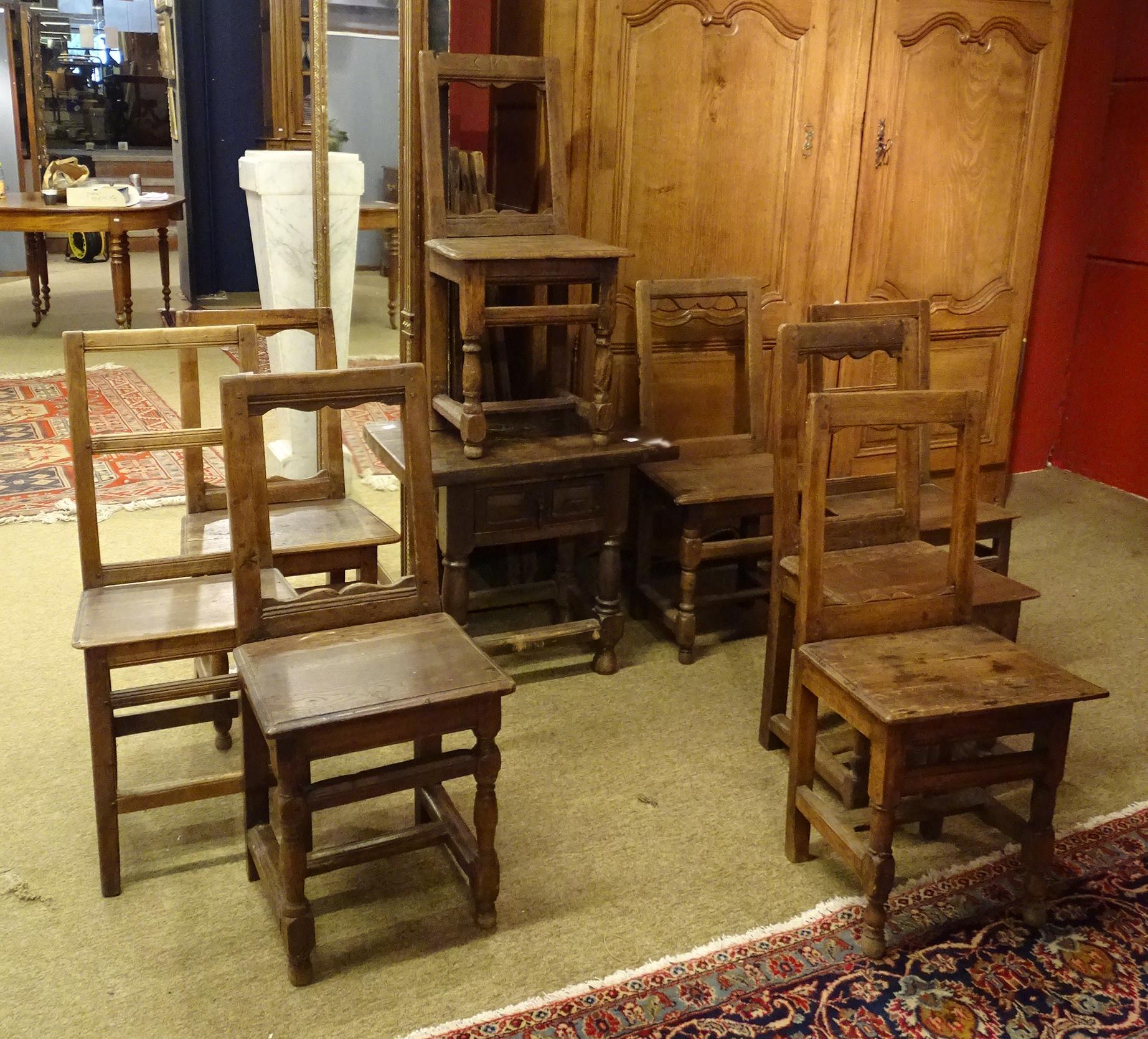 meuble chaises lorraine 18 s 6 2 table d 39 appoint de style espagnol l ments anciens 1. Black Bedroom Furniture Sets. Home Design Ideas