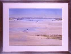Tableau aquarelle -Dune en bord de mer- signé HAWORTH Richard